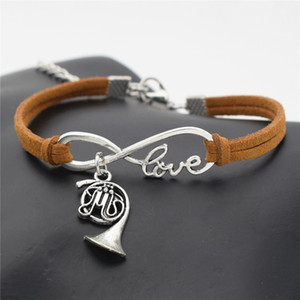 Wholesale Cheap Trendy Infinity Love Music French Horn Charm Bracelets Brown Leather Woven Rope Comfortable Vintage Men Women Jewelry Gifts