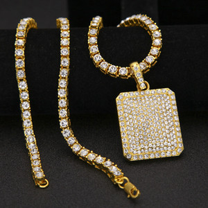 Wholesale Mens Hip Hop Chain Fashion Jewelry Full Rhinestone Pendant Necklaces Gold Filled Hiphop Zodiac Jewelry Men Cuban Chain Necklace Dog Tag