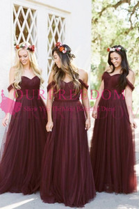 2019 New Burgundy Tulle Bridesmaid Dresses Off The Shoulder A Line Cheap Under 90 Maid Of Honor Wedding Guest Gown Custom Made