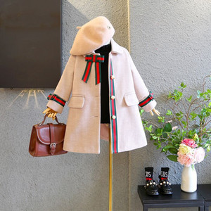 Wholesale Vieeoease Girls Coat Christmas Bow Kids Clothing Winter Korean Fashion Long Sleeve Wool Coat EE