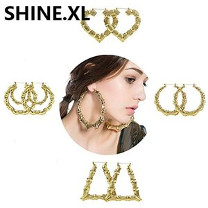 Big Bamboo Earrings Gold Tone Statement Hip-Hop Trendy Star Heart Round Large Circle Hoop Earrings for Women