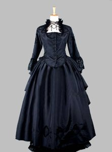 Wholesale Two Piece Gothic Black Thai Silk Victorian s Bustle Dress Party Dress Cosplay