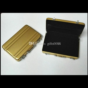 Wholesale Card Holder Solid Color Metal Mini Exquisite Suitcase Business Bank Card Box