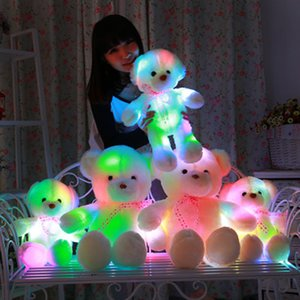 Wholesale 2018 New Creative Light Up LED Inductive Teddy Bear Stuffed Cute Animals Plush Toy Colorful Glowing Teddy Bear Christmas Gift