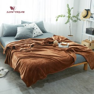 Wholesale Slowdream Brown Flannel Blanket Throw Soft Print Winter Elegant Blanket Home Textiles Wrap Super Soft Sleeping Bed Size