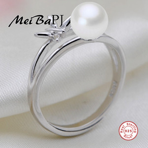 Wholesale whole sale MeiBaPJ Real sterling silver ring natural freshwater pearl women ring Bohemia jewelry white pink purple balck colors