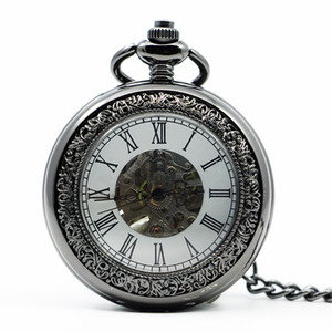 Wholesale Antique Men Women Hand Wind Mechanical Pocket Watch Roman Number Dial Fob Watch With Pendant Chain