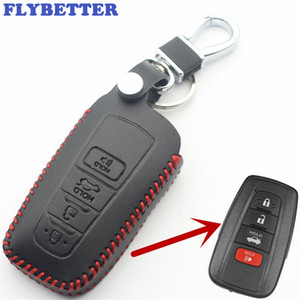 FLYBETTER Genuine Leather 4Button Smart Key Case Cover For Toyota Camry CHR  2017Prius Corolla Prado Car Styling L55