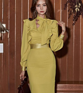 Wholesale Korean Spring and Autumn Fashion New Lantern Sleeve Waist Thin Pack Hip Scarf Collar Dress