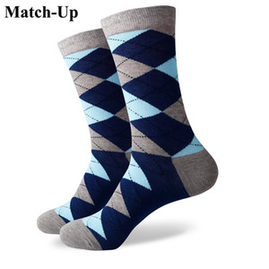 2016 new men colorful combed cotton socks Diamond styles,geometric socks,US size(7.5-12) 338