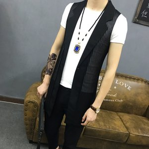 Wholesale M~4XL New Men's Clothing Plus size Korean slim hair stylist vest sleeveless mesh hollow trend in the long waistcoat costumes