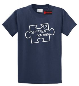 Wholesale Different Not Less Autism Awareness T Shirt Puzzle Autistic Event Tee Funny Unisex Casual tee gift