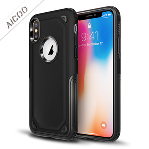 Wholesale Aicoo Hybrid Dual Layer Armor Protective Case Shockproof Back Cover for iPhone XS MAX XR X Samsung S10 S9 A6 Plus A8 A6 J2 Pro OPP