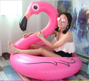 Wholesale pool parties for sale - Group buy 120 cm Inflatable Flamingo swim ring Pool Float Toys Kids Swimming mattress Circle Party Decoration Beach Water tubes pvc pool rings