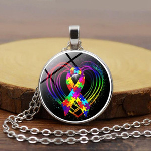 Wholesale Euramerican trend hot style jewelry autism ribbon time gemstone necklace new custom made necklace accessories
