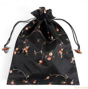 Wholesale 27 cm Chinese Handmade Embroiderd Floral Silk Shoe Bags Portable Drawstring Travel Storage Bags Pouch