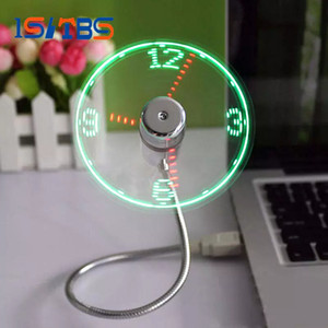 Wholesale USB Time Fan Gadget Mini Flexible LED Light USB Fan Time Clock Desktop Clock Cool Gadget Time Display High Quality