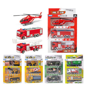 Wholesale Alloy Car Model Toy Engineering Truck Fire Engine Helicopter Military Rocket Truck Garbage Truck Kid Birthday Party Gift Collecting