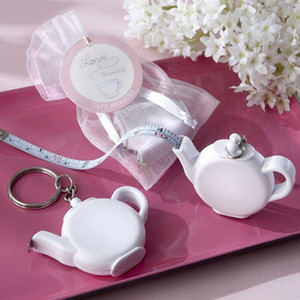 Wholesale tape measure mini keychain resale online - Mini Iron Skin Tape Measure Teapot Plastic Key Buckle Soft Portable Ruler Flexible Rule Keychain Wedding Party Souvenir xn UU