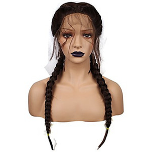 Wholesale braided brazilian hair wigs resale online - synthetic micro box braid lace front wig with heat resistant fiber long Brazilian african american black woman with baby hair