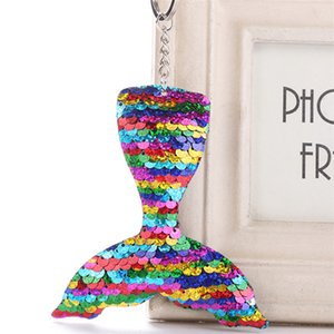 Sequins Mermaid Keychain Christams Decorations Mermaid Fish Tail Keychain Gift Xmas Pendant Heart Keychain 9 Colors mk818