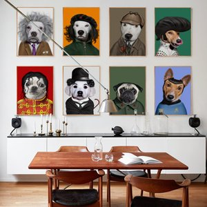 Bianche Wall Modern Dog Animal Dress Up Funny Star Modeling A4 Canvas Art Painting Print Poster Picture Wall Fashion Home Decor