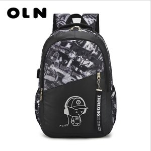 Wholesale OLN boys school bags letters waterproof large backpack for teenagers high school backpack for boy student casual travel bag