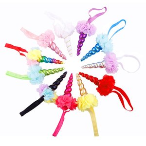Wholesale Princess Girls Spiral Unicorn Horn Headband Flower Crown Hair Band Party Fancy Dress Costume Cosplay Hair Accessories