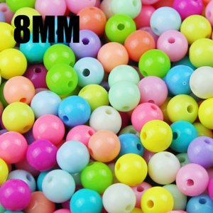 Wholesale Top quality Mixed Candy Light Color Acrylic cream Beads Neon smooth Round loose beads fit Jewelry Handmade mm