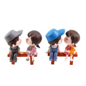 Wholesale 3Pcs set Mini Stool Couples Dolls Fairy Garden Miniatures Decor Dollhouse Terrarium Action Figures Figurine DIY Micro Landscape