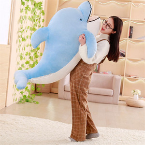 Wholesale Dorimytrader Big Soft Sea Animal Dolphin Plush Toy Stuffed Cartoon Dolphin Animals Pillow Doll Decoration Gift for Girls and Boys cm