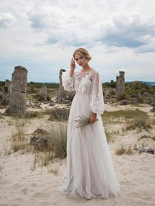 Wholesale 2019 New Boho Wedding Dresses Long Sleeves Bohemian Wedding Dresses Appliques Tulle Floor Length Beach Wedding Gowns Cheap Bridal Dresses