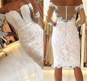 Wholesale 2018 Sexy Short For Women Cocktail Dresses Off Shoulder White Lace Applique Beaded Prom Dresses Party Plus Size Knee Length Homecoming Gowns