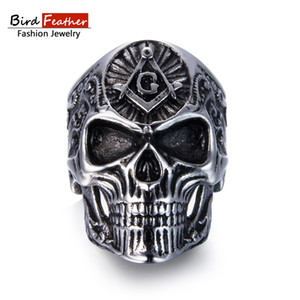Wholesale Bird Feather Stainless Steel Men Ring Masonic Skull Titanium Rings for Women Vintage Punk Fashion Jewelry Woman Wedding Ring