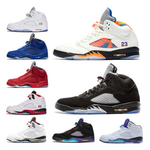 factory Outlet 5 V Mens White Cement Men 5S Basketball Shoes Blue suede Olympic Gold OG Black Fire Red Sports Sneakers US8-13
