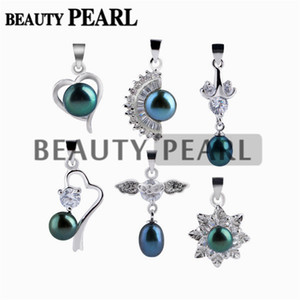 Wholesale green peacock pearls resale online - 10 Pieces Mixed Designs Peacock Blue and Peacock Green Freshwater Pearl Silver Plated Pendant Pretty Jewelry