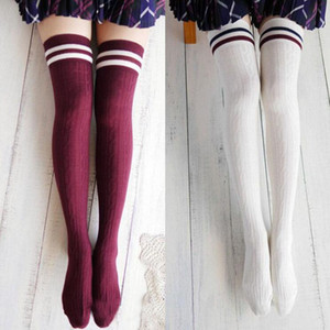 College Wind Women Fashion Hot Thigh High Socks Sexy Warm Cotton Over The Knee Socks Striped Long Stockings For Girls