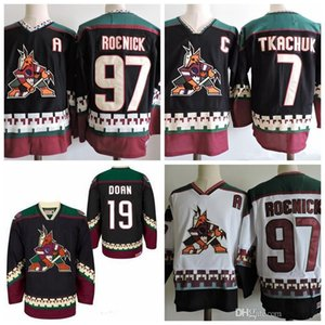 Wholesale Vintage Phoenix Coyotes Vintage Keith Tkchuk Hockey Jerseys Black White CCM Stitched Arizona Coyote Jerseys C Patch