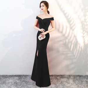 Fashion V-Neck Satin Mermaid Evening Dress Long Split Cocktail Dress Party Gowns Sexy Off-Shoulder Dress Burgundy Red Black Zipper Back D25 on Sale