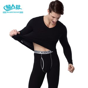 Wholesale Men s Cotton Underwear Long Johns Thermal Pants Mens V Neck Thermo Underwear Sexy Black Thermal Sets Winter Long Johns