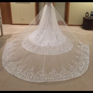 Wholesale 2018 Bridal Veils Real Pictures Long Chapel Length Custom Made Ivory White Wedding Veils Appliques Beaded Sequins Cheap Bridal Accessories