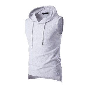 Wholesale 2017 Summer Casual Men's Solid Sleeveless Sports Cotton T-Shirt Hooded Tank Top Hoodies Tee Men Bodybuilding Fitness Tops