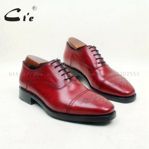 Wholesale cie Bespoke Handmade Dress Office Men s Oxford Genuine Leather Lace up Semi broguesColor Red Brown Shoe Goodyear