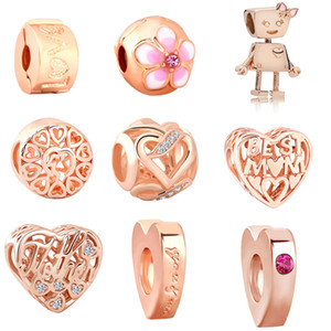 Wholesale MOQ Rose gold Bead Bella Bot love best mom Charm Fit Original Pandora Bracelet Bangle DIY Jewelry N081