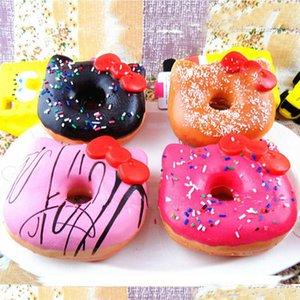 Wholesale 20Pcs Jumbo Hello Kitty Donut Squishy slow rising Cell Phone Charm Emotional venting tool packages food toys kitchen
