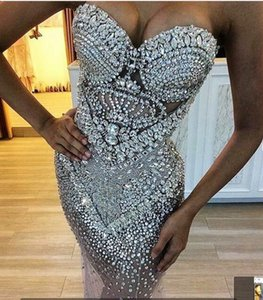 Evening dress Long Dress O-Neck Strapless Beaded Sleeveless Customable All Sizes Cool Sexy Dazzling Soulderess Bss on Sale