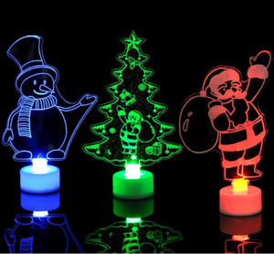 Wholesale Acrylic LED Christmas Tree Colorful LED Santa Claus Lighting Flashing Party Christmas Holloween Festival Decoration Gift toys CM HQ037