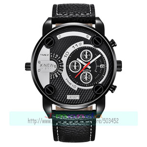 Wholesale 50pcs xinew Big Watches Mens Leather Band Date Sports Quartz xinew Wrist Watch