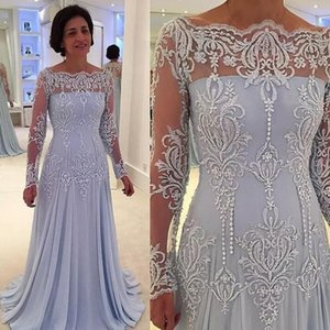 Wholesale Hot Selling Long Sleeves Court Train Sky Blue Mother of the Bride Dresses with Appliques for Wedding Party