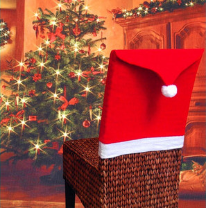 Wholesale Santa Claus Cap Chair Cover Christmas Dinner Table Red Hat Snowflake Chair Back Cover Xmas Home Decoration Ornament